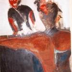 """Mischtechnik; """"Die bevorstehende Umarmung""""; 110 x 160 cm,; 2009"""